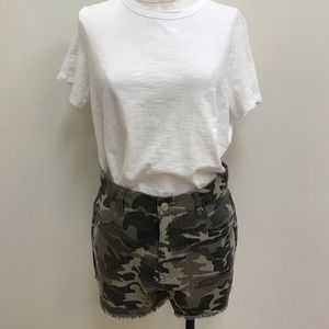 NWT Mittoshop Faded Camouflage Raw Hem Shorts